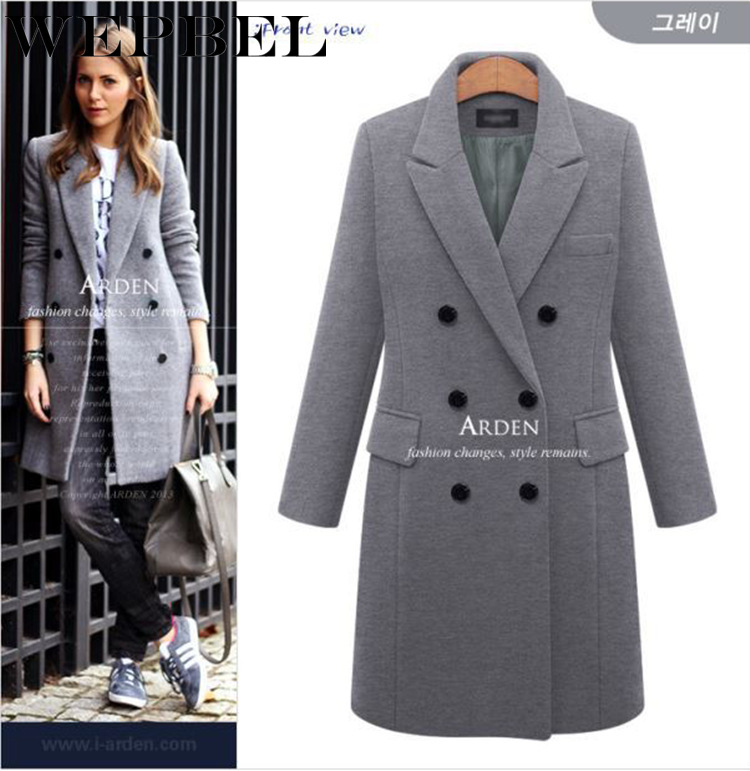 WEPBEL Women Long Woolen Blend Coat Jacket Full Sleeve Button Autumn Winter Fashion Casual New Ladies Ourwear