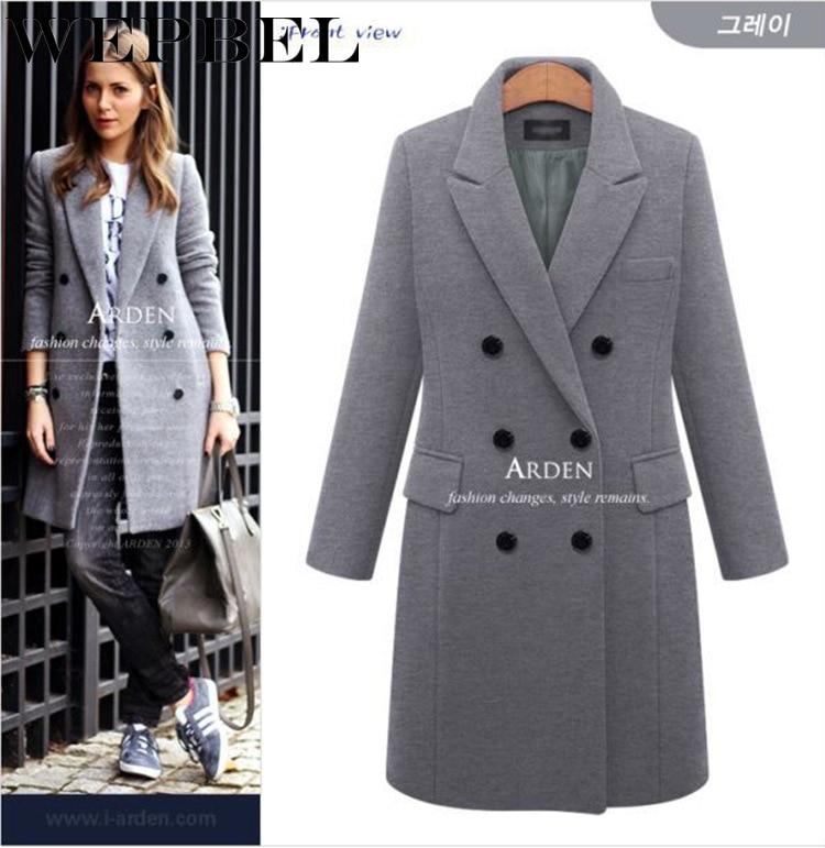 WEPBEL Women Long Woolen Blend Coat Jacket Full Sleeve Button Autumn Winter Fashion Casual New Ladies Ourwear