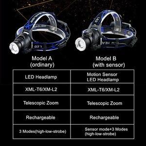Image 2 - Xm l l2 XML T6 5000lm farol de led, com sensor de movimento, farol, lanterna, para áreas externas