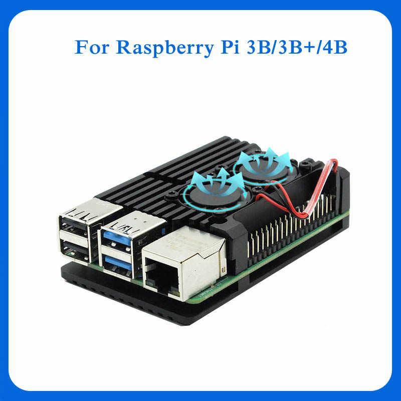 Dual Fans Raspberry Pi 4 Modell B/3B +/3B 4 Farbe Aluminium Metall Fall mit Super Zwei lüfter + Kühlkörper für Raspberry Pi 4/3