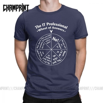Casual The IT Professional Wheel Of Answers T-Shirts for Men Cotton T Shirts Programmer Programming Software Engineer Tees Tops - discount item  40% OFF Tops & Tees