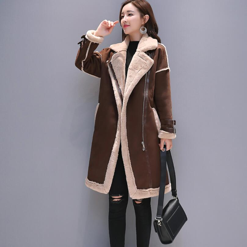 Женское пальто из искусственной кожи с мехом ягненка, длинное пальто из замши с вышивкой оленя, Свободное пальто из овечьей шерсти, chaqueta mujer