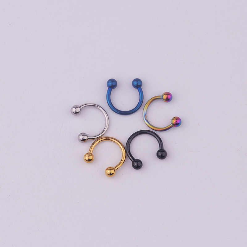 אירופה ובאמריקה חמה מכירות 316L נירוסטה פירסינג קישוטי עגול כדור C בצורת פרסת טבעת אוזן והאף שפתיים פטמה