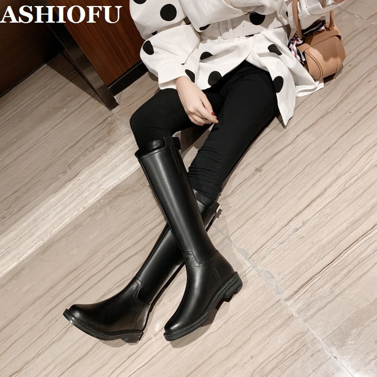 ASHIOFU New Handmade Women's Flats Boots Real Leather Night-club Mid-calf Boots Evening Party Dress Fashion Half Boots Shoes