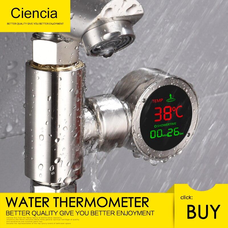 Livraison gratuite en laiton LED eau douche thermomètre auto-génération électricité bain eau température compteur moniteur pour les soins de bébé