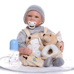 Poupée en Silicone simulée renaître bébé poupées corps en Silicone 50cm Strape tenue avec jouet en peluche