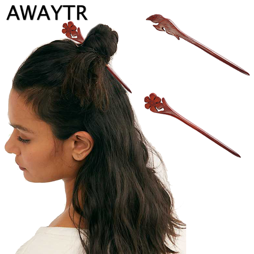 AWAYTR Vintage Hair Stick Pick Natural Wooden Sandalwood Chinese Style  Ethnic Hair Pin Women Hairpins Jewelry Accessories