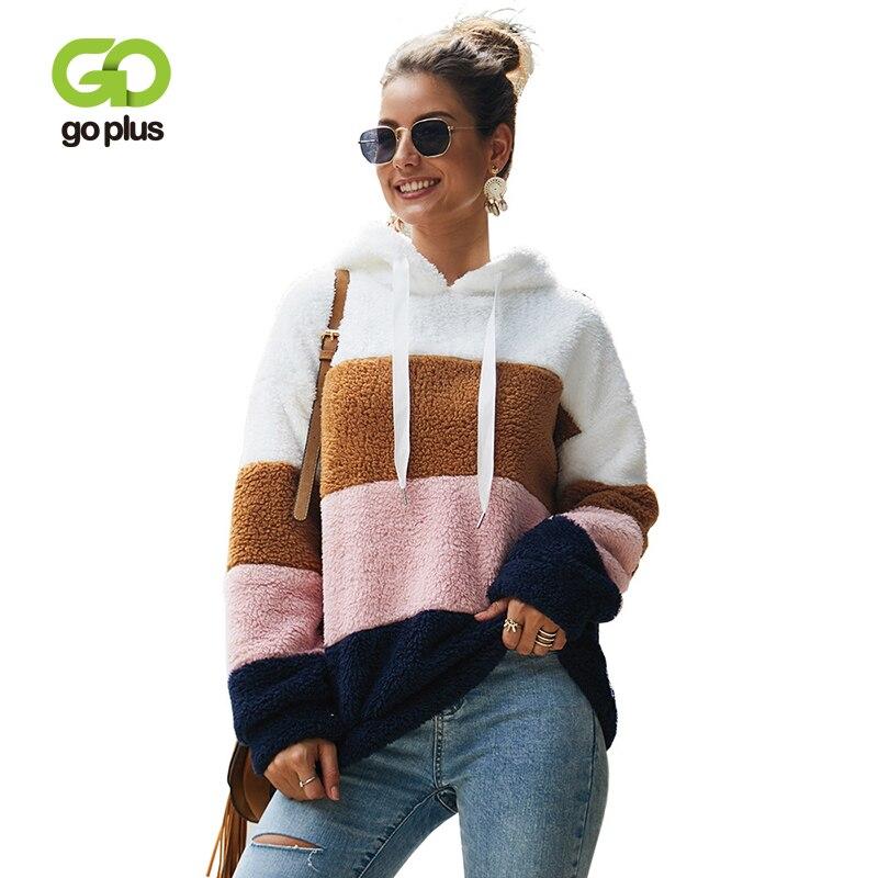 GOPLUS Faux Fur Fluffy Sweatshirt Striped Hoodies Long Sleeve Oversize Pullovers 2019 Autumn Winter Streetwear Sudadera Mujer