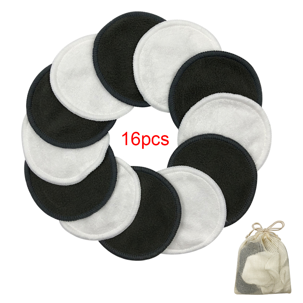 16Pcs Reusable Washable Round Bamboo Makeup Remover Cotton Pads With Storage Bag Gloves For Skin Care Supplies With Laundry