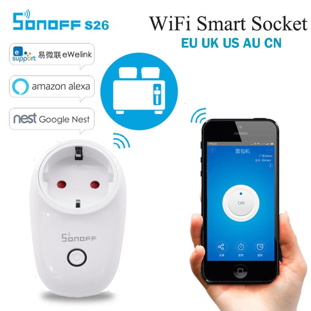 Sonoff S26 WiFi Smart Home Switch  EU US UK CN AU Plug Automation Remote Wireless Controls Socket Works With IFTTT Alexa Amazon