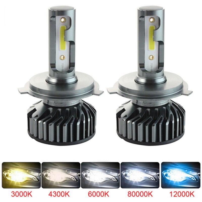 No Error 2PCS H4 Car Led Headlight H1 H4 H11 9005 HB3 9006 HB4 H7 Led Bulb 12000LM 6000K Mini Size Canbus Car Headlight Bulb Led