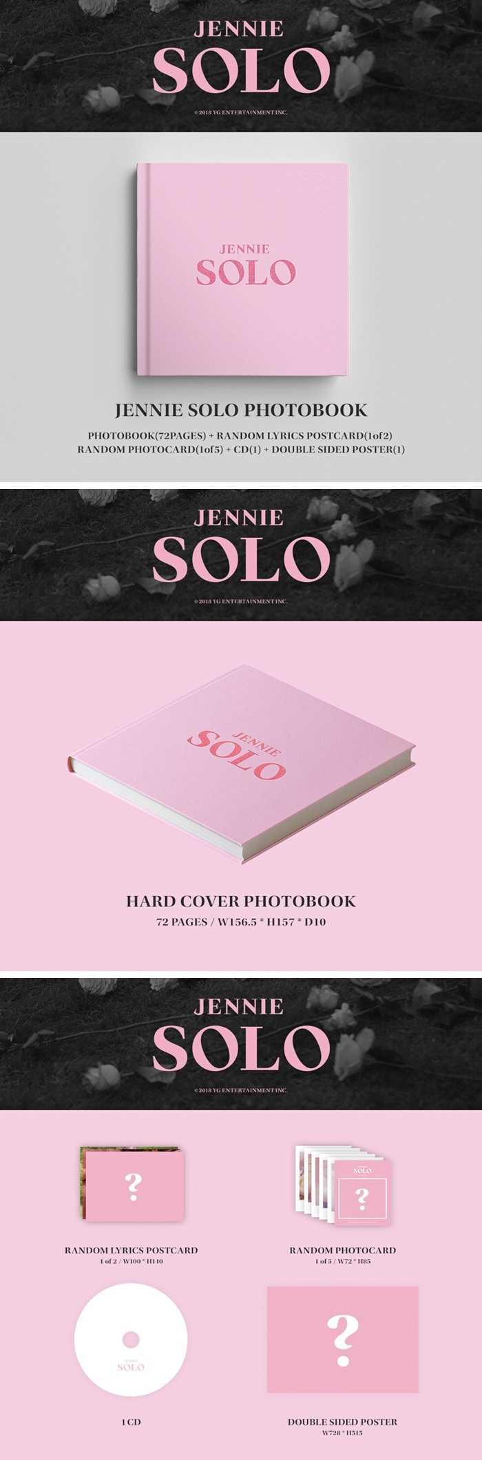 [MYKPOP] ~ 100% OFFICIËLE ORIGINELE ~ BLACKPINK JENNIE SOLO Album Set CD + Foto Boek KPOP Fans Collection SA19081701
