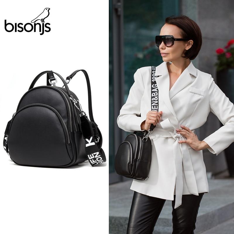 Женский многофункциональный рюкзак BISONJS, кожаная сумка через плечо для девочек, маленький рюкзак Mochila Feminina B1553