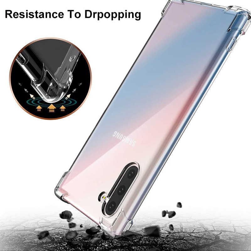 Ударопрочный силиконовый чехол для Samsung S20 Note 10 Plus Note 9 8 S10 S9 S8 Plus S7edge A51 A71 A70 50 A40 TPU Прозрачный чехол