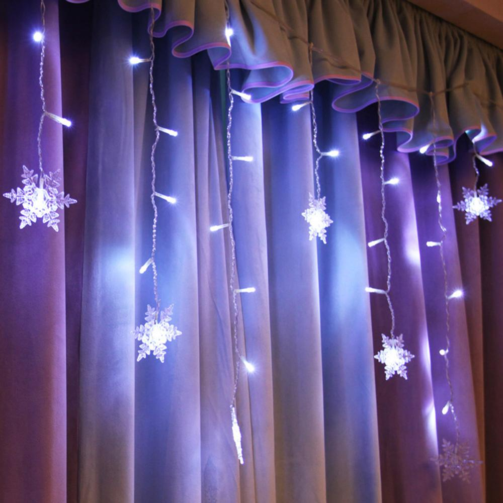 4m 8 modes Waterproof LED Strip Curtain Lamp String Snowflake Fairy <font><b>Lights</b></font> EU Plug <font><b>Decorative</b></font> Lighting <font><b>for</b></font> Party <font><b>Home</b></font> image