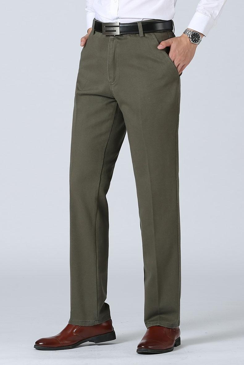 H215a4c5f53b74bfc903568b610697101S Autumn Winter Men Warm Fleece Classic Black Cotton Pants Mens Business Loose Long Trousers Quality Casual Work Pants Overalls