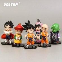 6 piezas Dragon Ball Doll accesorios de coche adornos decoración Interior del salpicadero 11cm dibujos animados Saiyan Goku modelos de juguete