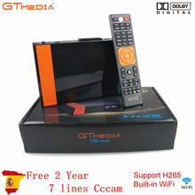 Gtmedia V8 Nova Built-in Wifi H.265 With Europe 7 Lines Cccam Share Server For 1 Year Spain HD DVB-S2 Satellite Receiver