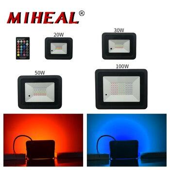 Reflector LED para exteriores de 20W, 30W, 50W, 100W, Reflector para lámpara de pared con arandela IP68, iluminación impermeable, luz de inundación RGB para jardín
