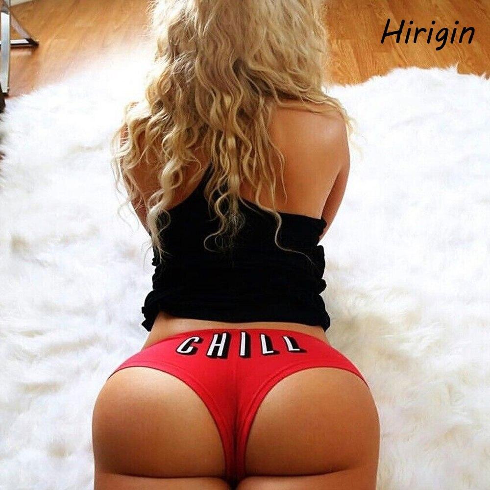 2020 Hot Women Brazilian Sexy Bikini Swimwear Thong Funny Letter Printed Bottom Beachwear Swim Trunk T-Back Bottom Beach Pants