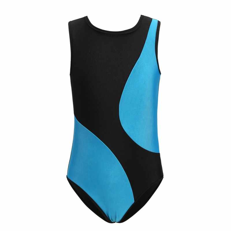 Children Kids Girls Gymnastics Suit Breathable sleeveless Soft Fashion Concise Color Matching Gymnastics Cloth body suit