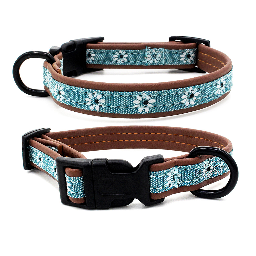 New Style Comfortable Microfiber Pet Collar Small Flower Pattern Dog Neck Ring Plastic Buckle Dog Pet Supplies