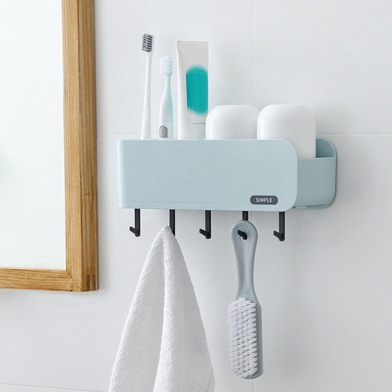 Plastic Storage Rack Large Capacity Toothbrush Holder Toothpaste Rack Household Punch-free Bathroom Home Decoration Accessories image