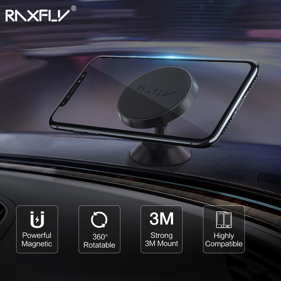 RAXFLY Magnetic Car Holder Stand Auto Magnet GPS Mobile Phone Car Holder For IPhone 11/11 Pro Max For Samsung Note 10 S10 Plus