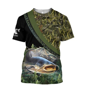 Catfish with camo Fishing T Shirt All Over Print