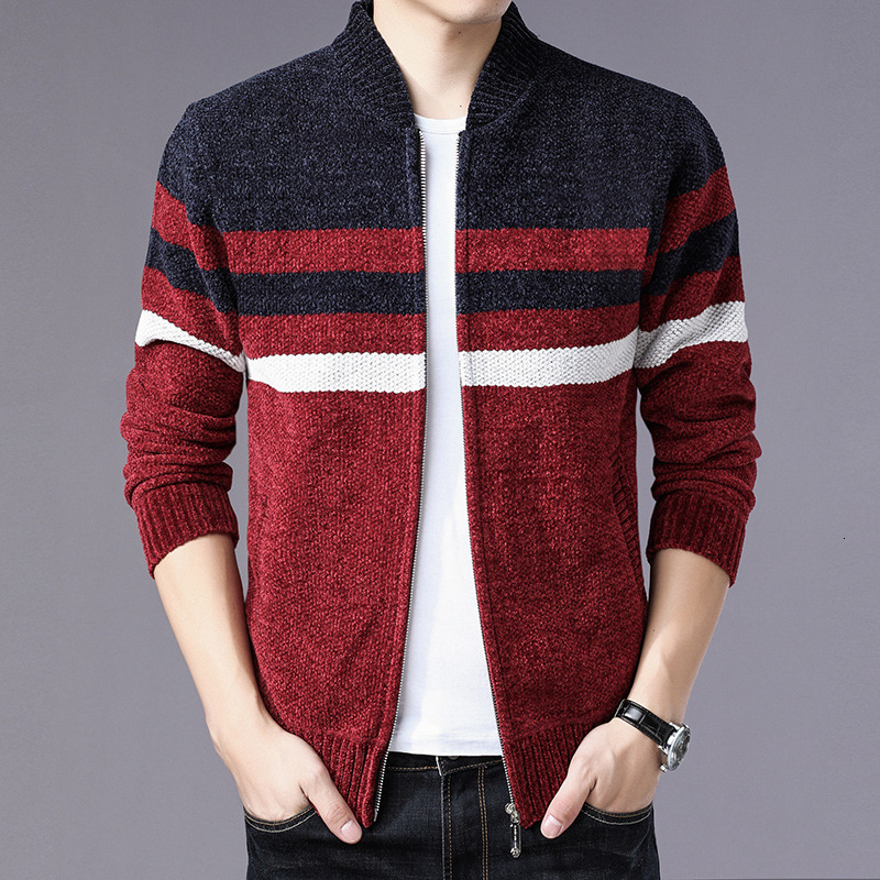 The New Age Season 2019 Young Men Striped Collar Knitting Sweater Coat Of Cultivating Morality