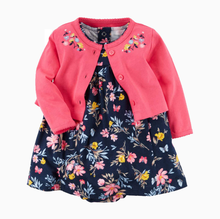 2 Pieces Newborn Infant Baby Girls Bodysuit Dress 2019 Summer Autumn Long Sleeve Baby Tops Cardigan+Short Sleeve Bodysuit Dress(China)