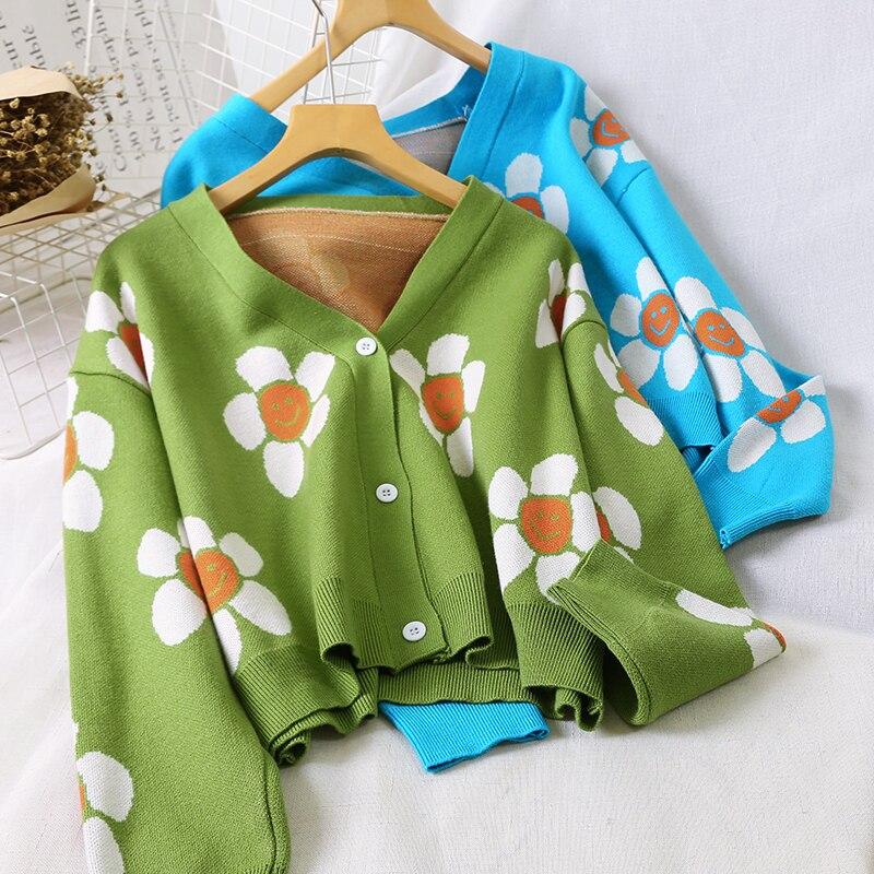 Cute Sweet Chic Sunflower Cropped Cardigan Women 2019 Winter Streetwear Harajuku Knitted Sweater Cardigan Women Tops