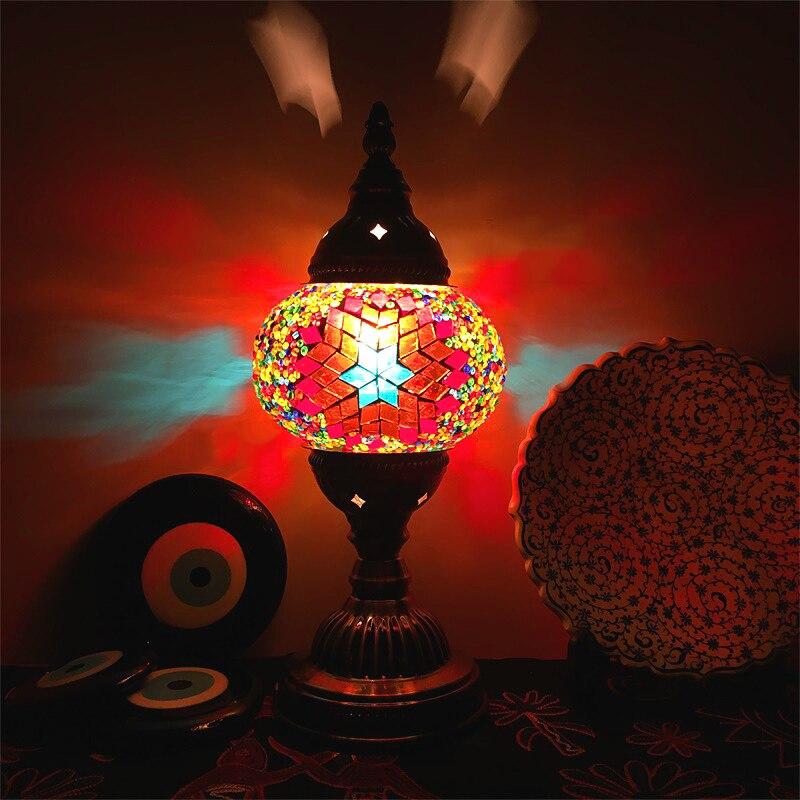 Турецкая мозаичная настольная лампа, красочный абажур из витражного стекла, ресторан, кофейня, средиземноморский Ночной светильник ручной ...