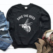 New Hoodies Protect The Planet Pullover Girl Streetwear Save The Bees Graphic Sweatshirt Women Plant These Flowers Drop Ship(China)