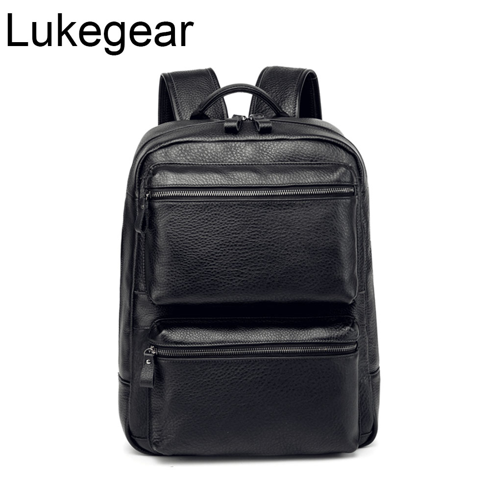Lukegear Cow Leather Backpack Business Bags Men Women Laptop Packing Bags Big Capacity