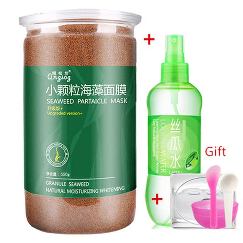 New Pure Seaweed Alga Mask Powder Algae  Acne Spots Remove Hyrdating Whitening&Moisturizing  Face Mask 550g+BOWL + Spoon