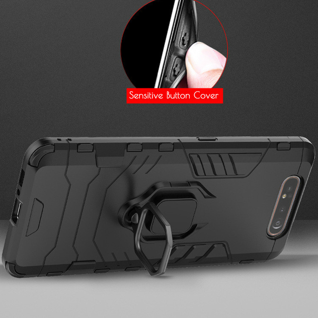 For Samsung Galaxy A80 Case Armor PC Cover Finger Ring Holder Phone Case For Samsung A 80 Case 360 Shockproof Bumper Hard Shell 2