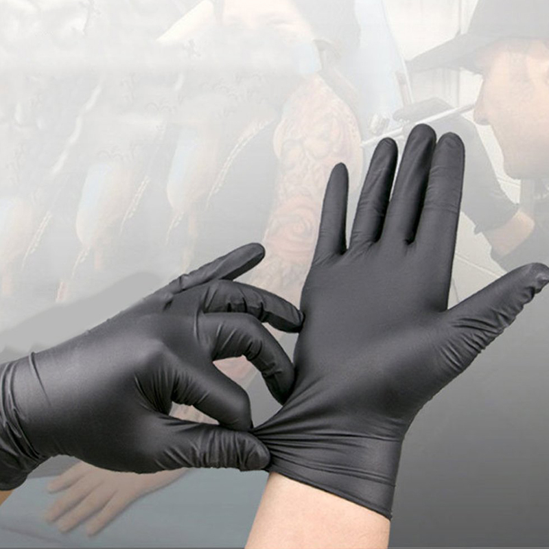 In Stock 100Pcs/Box Disposable Colored Nitrile Glove For Examination Food Disposable Working Safety Gloves Black Blue Dropship