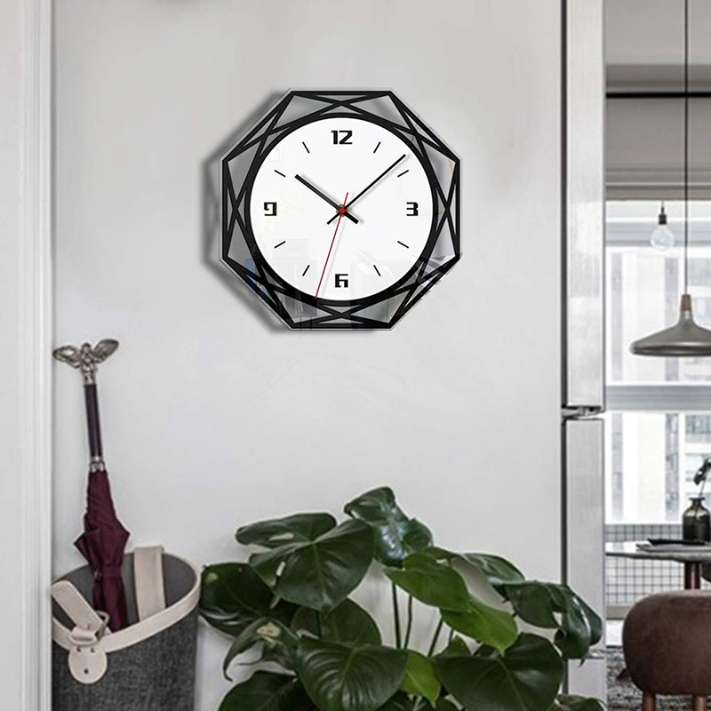 Wooden Wall Clock- Creative Black And White Transparent Acrylic Wall Clock- Perfect To Decorate Living Room, Bedroom, Office, Ca
