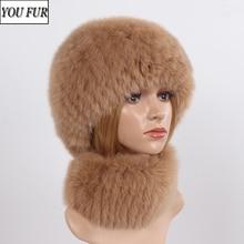 Hat Scarf Luxury Scarves-Sets Real-Fox-Fur Winter Women New Knit Muffler Warm 2pieces