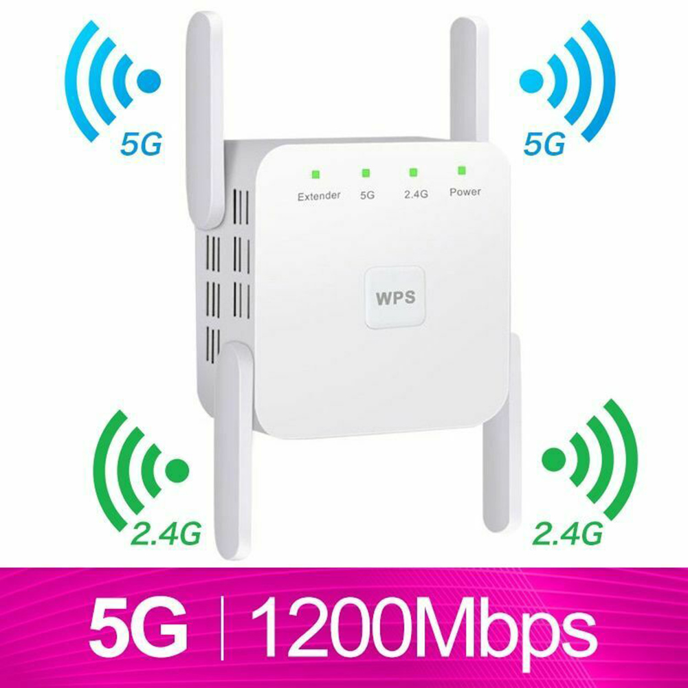 Wireless WiFi Repeater WiFi Extender 2.4G 5G Wifi Amplifier Wi-Fi Amplifier Long Range Repeater Wi-Fi Repeater 1200Mpbs 300 Mbps