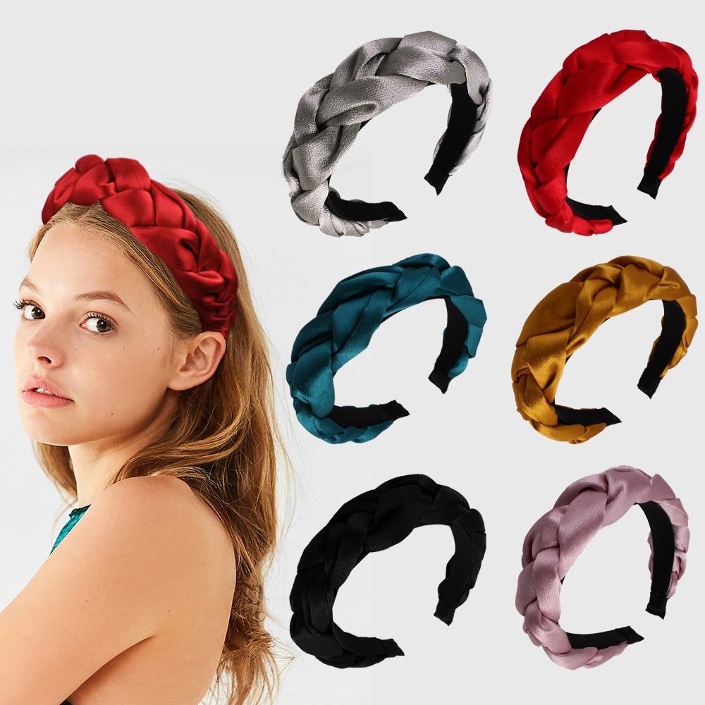 Solid Velvet Plait Bezel Women Headband Girls Vintage Hair Bands Wide Hairband Headwear Hoop For Hair Accessories