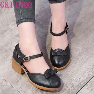 Gktinoo 2020 sandálias de verão do sexo feminino artesanal de couro genuíno das mulheres casuais confortáveis sapatos femininos sandálias verão