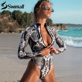 цена 2020 Sexy One Piece Swimsuit Long Sleeve Swimwear Women Print Floral Bathing Suit Retro Monokini Bathing Suit Beachwear Female онлайн в 2017 году