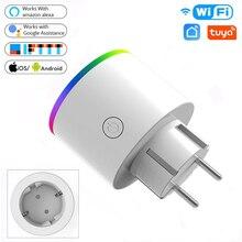 Wifi smart plug 16a eu adaptador led controle remoto sem fio controle de voz energia tomada do monitor de energia soquete do temporizador para alexa google home