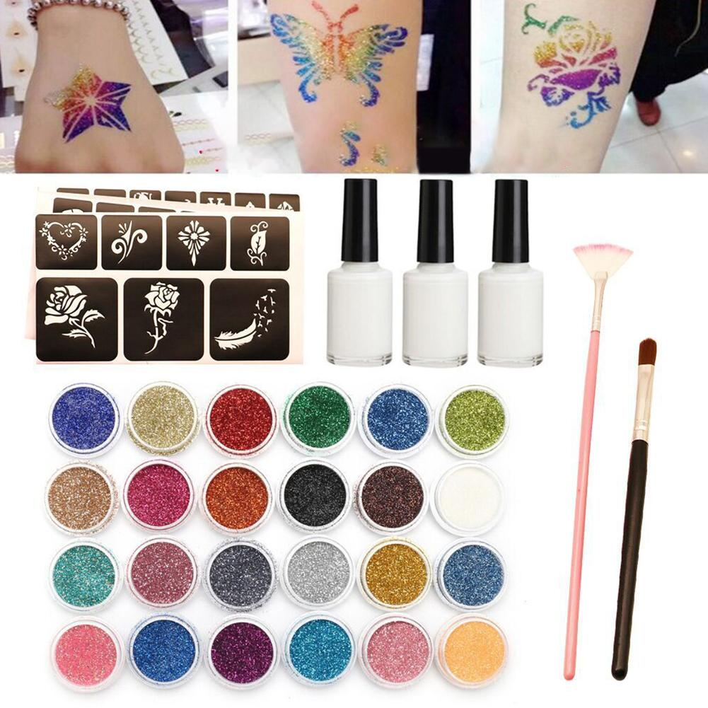 Diamant paillettes ensemble de tatouage Semi-permanent Simple modèle de tatouage envoyer 120 modèle ensemble corps peinture Art pour enfants adolescents Adul