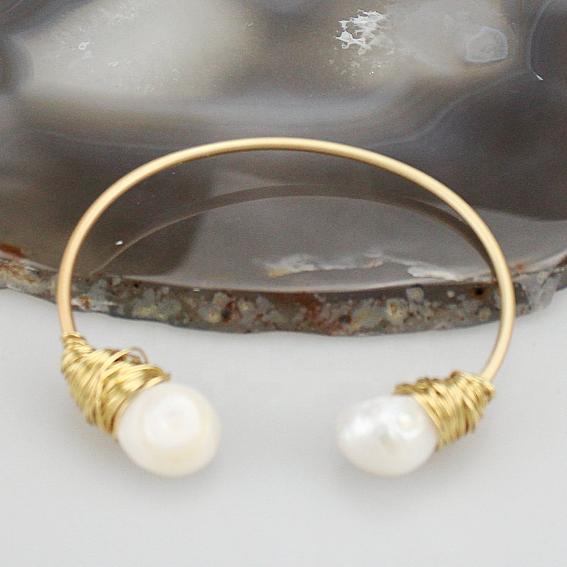 Adjustable Freshwater Pearl Bangle Fashion Pearl With Copper Wire