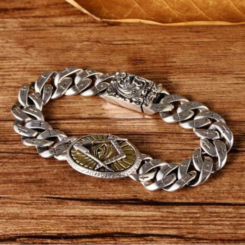S925 Стерлинговое серебро, ювелирные изделия, крест Божьего глаза, мужской браслет с узором Fenghuang, новый модный мужской серебряный браслет