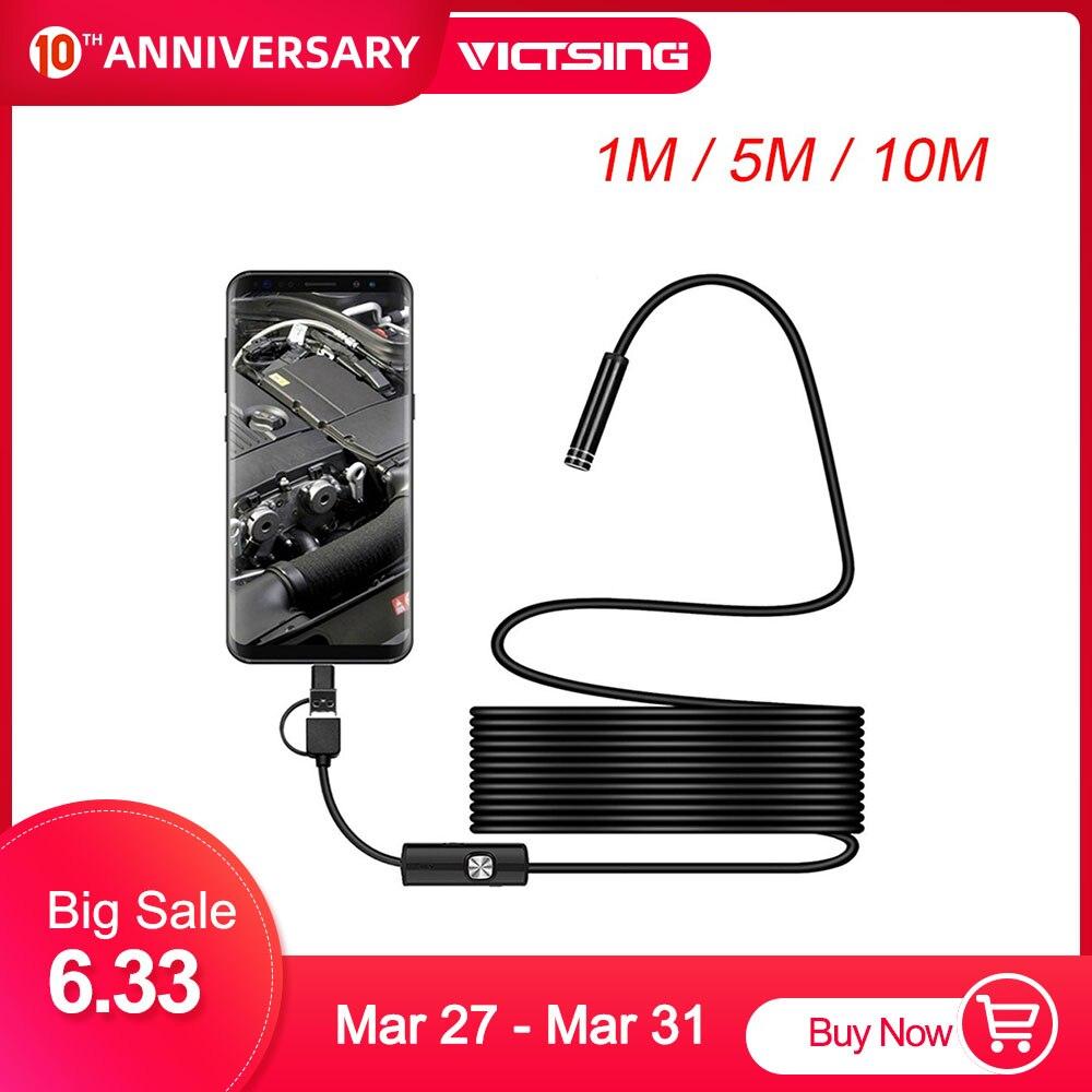 Victsing 1m 3-em-1 android tipo-c usb endoscópio câmera wifi borescope 6 led cobra câmera para mac os windows ferramentas de reparo do carro