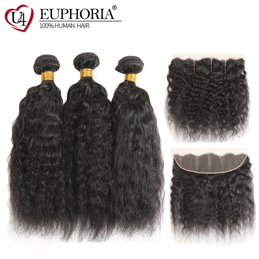 Kinky Straight Human Hair Weave 3 4 Bundles With Lace Frontal EUPHORIA Brazilian Natural Color Non